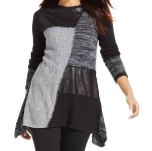 STYLE & CO black and grey patchwork front sweater